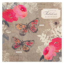 Buy Hammond Gower Butterflies & Roses Birthday Card Online at johnlewis.com