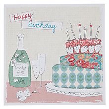Buy Saffron World Wide Cake & Champagne Birthday Card Online at johnlewis.com