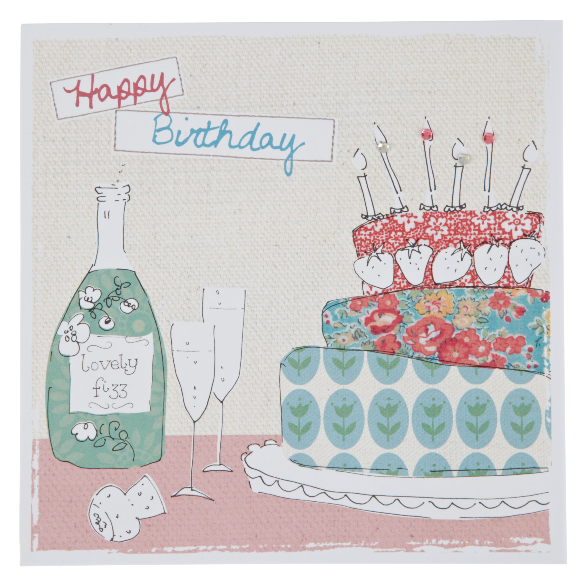 Birthday Cake John Lewis : Buy Saffron World Wide Cake & Champagne Birthday Card ...