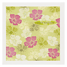 Buy The Art Rooms Fabric Geranium Lime Birthday Card Online at johnlewis.com