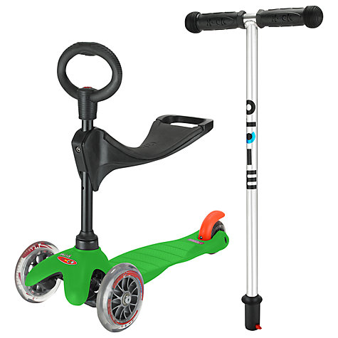 Buy Micro Scooters Mini Micro 3-in-1 Scooter with Seat and O-Bar Handle, Green Online at johnlewis.com