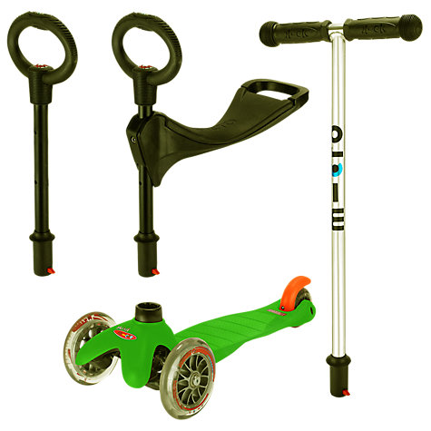 Buy Micro Mini Micro 3-in-1 Scooter with Seat and O-Bar Handle, Green Online at johnlewis.com