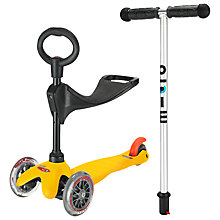 Buy Micro Scooters Mini Micro T-bar Scooter with Seat and O-Bar Handle, Yellow Online at johnlewis.com