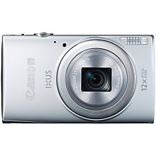 "Buy Canon IXUS 265 HS HD 1080p, 12x Optical Zoom, 16MP, Wi-Fi, NFC, 3"" Screen, Silver with Memory Card Online at johnlewis.com"