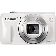 "Buy Canon PowerShot SX600 HS Digital Camera, HD 1080p, 16MP, 18x Optical Zoom, Wi-Fi, NFC, GPS, 3"" Screen, White with Memory Card Online at johnlewis.com"