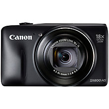 "Buy Canon PowerShot SX600 HS Digital Camera, HD 1080p, 16MP, 18x Optical Zoom, Wi-Fi, NFC, GPS, 3"" Screen, Black with Memory Card Online at johnlewis.com"