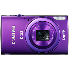 "Buy Canon IXUS 265 HS HD 1080p, 12x Optical Zoom, 16MP, Wi-Fi, NFC, 3"" Screen, Purple with Memory Card Online at johnlewis.com"