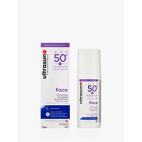Buy Ultrasun SPF 50+ Anti-Ageing Ultra Sensitive Facial Sun Cream, 50ml Online at johnlewis.com