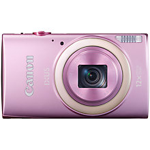 "Buy Canon IXUS 265 HS HD 1080p, 12x Optical Zoom, 16MP, Wi-Fi, NFC, 3"" Screen, Pink with Memory Card Online at johnlewis.com"