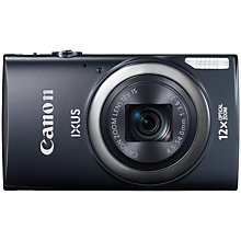 "Buy Canon IXUS 265 HS HD 1080p, 12x Optical Zoom, 16MP, Wi-Fi, NFC, 3"" Screen, Black with Memory Card Online at johnlewis.com"