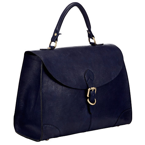 Buy John Lewis Large Leather Top Handle Bag, Navy Online at johnlewis.com