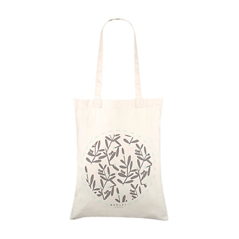 Buy Radley Leaf Print Medium Cotton Shopper Bag, Natural Online at johnlewis.com