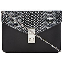 Buy Dune Bakey Snake Print Clutch Handbag, Black / White Online at johnlewis.com