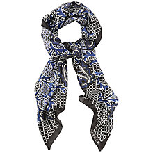 Buy Jaeger Paisley Print Scarf, White / Blue Online at johnlewis.com