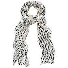 Buy Jaeger Monochrome Stripe Devore Scarf, Ivory / Black Online at johnlewis.com