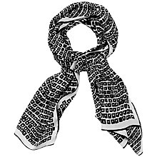 Buy Jaeger Square Print Scarf, Black / Ivory Online at johnlewis.com
