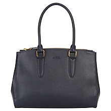 Buy Jaeger Marshall Leather Handbag, Navy Online at johnlewis.com