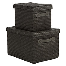 Buy John Lewis Woven Lidded Storage Boxes, Dark Grey, Set of 2 Online at johnlewis.com