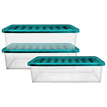 Buy John Lewis Underbed Storage Boxes, Set of 3, Teal Online at johnlewis.com