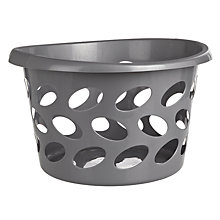 Buy John Lewis Round Laundry Basket, Silver Online at johnlewis.com