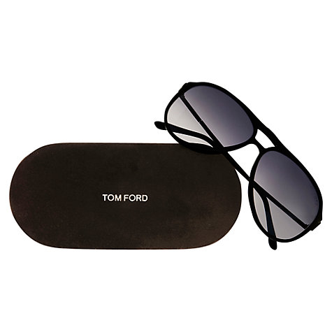 Buy TOM FORD FT0008 O1B Aviator Sunglasses, Black/Grey Online at johnlewis.com