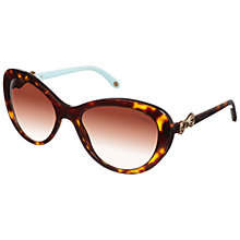 Buy Tiffany & Co 0TF4059 Oval Cat Eye Bow Sunglasses, Dark Brown Online at johnlewis.com