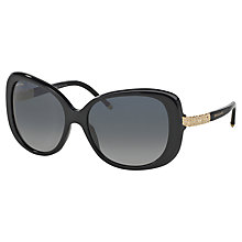 Buy Bvlgari BV8105B Square Framed Polarised Sunglasses, Black Online at johnlewis.com