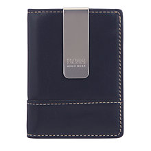 Buy BOSS Gaboy Leather Card and Money Clip, Navy Online at johnlewis.com