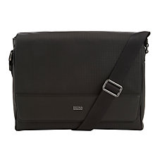 Buy BOSS Disclosy Leather Messenger Bag, Black Online at johnlewis.com