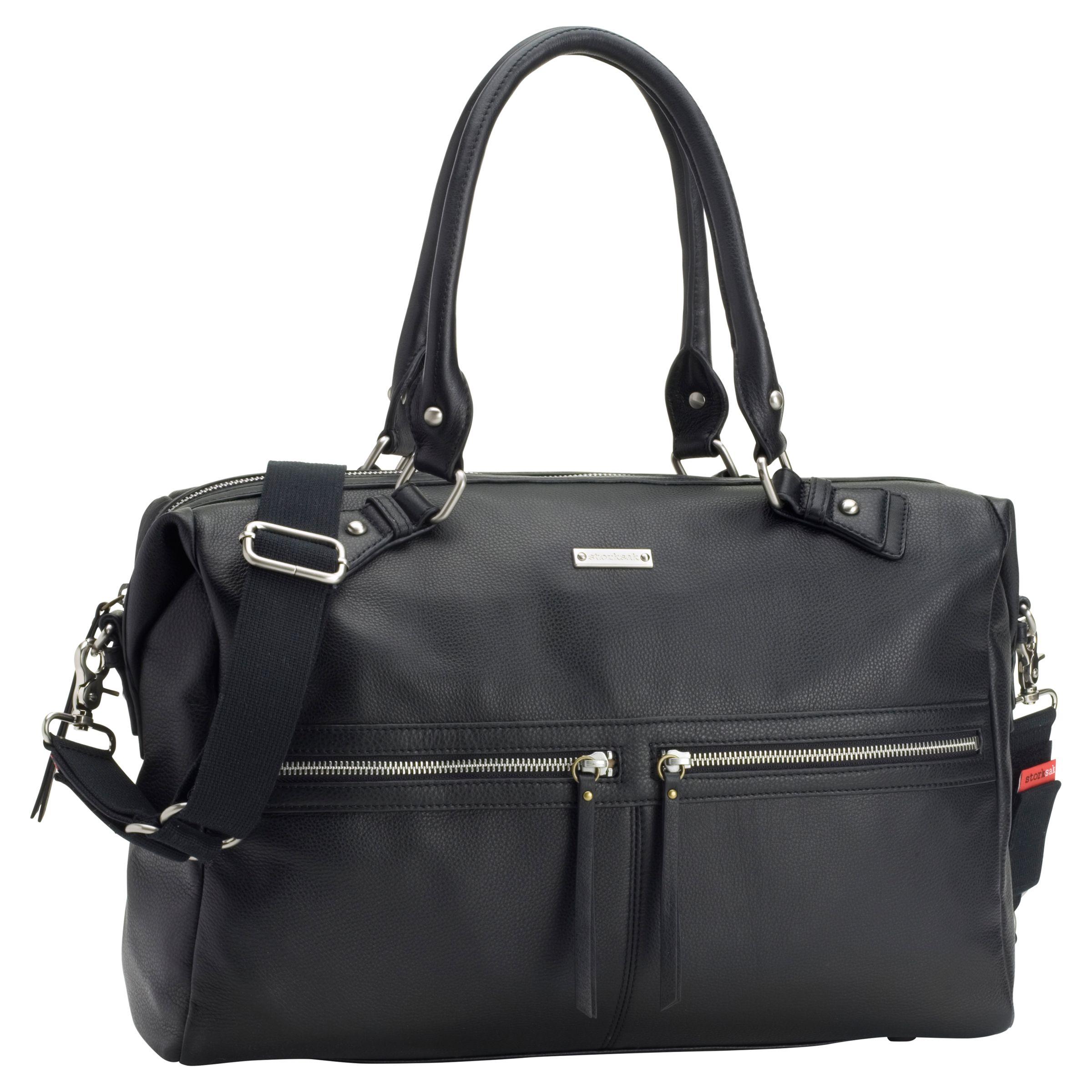Storksak Storksak Caroline Changing Bag, Black Leather