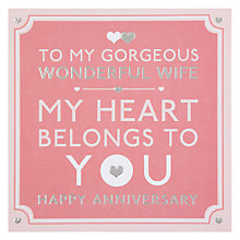 Buy Hotch Potch Wonderful Wife Happy Anniversary Card Online at johnlewis.com
