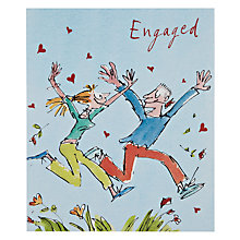 Buy Woodmansterne Man and Girl Leaping Through Flowers Engagement Card Online at johnlewis.com