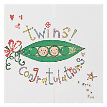 Buy Rachel Ellen Twin Peas New Baby Card Online at johnlewis.com
