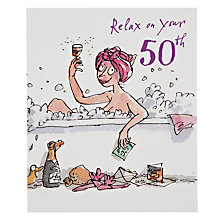 Buy Woodmansterne Lady In Bubble 50 Birthday Card Online at johnlewis.com