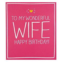 Buy Pigment Wonderful Wife Birthday Card Online at johnlewis.com