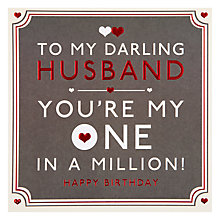 Buy Hotchpotch Darling Husband Birthday Card Online at johnlewis.com