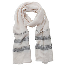 Buy Mint Velvet Stripe Sequin Detail Scarf, Cream Online at johnlewis.com