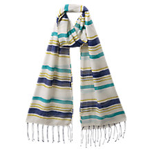 Buy East Winter Sun Stripe Scarf, Azure Online at johnlewis.com