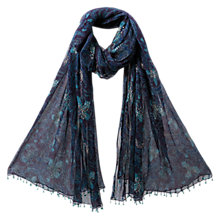 Buy EAST Anokhi Fresco Print Scarf, Navy Online at johnlewis.com