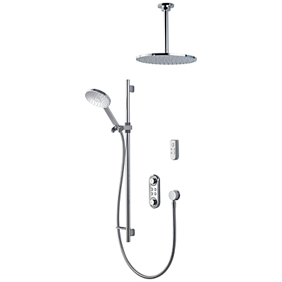 Aqualisa ilux XT Digital Concealed HP/Combi Shower with Adjustable Head, Diverter and Ceiling Fixed Head