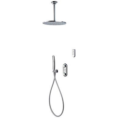 Aqualisa ilux XT Digital Concealed HP/Combi Shower with Ceiling Fixed Head, Diverter and Handshower