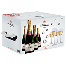 Buy Taittinger Brut Bottles and Glasses Champagne Set, Pack of 4 Online at johnlewis.com