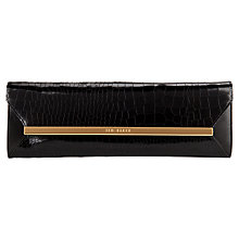 Buy Ted Baker Allise Croc Clutch Bag, Black Online at johnlewis.com