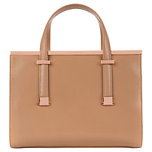 Buy Ted Baker Harpel Metal Bar Leather Tote Bag, Tan Online at johnlewis.com