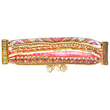 Buy Hipanema Goa Wide Multi-Layer Beaded Friendship Bracelet, Pink / Gold Online at johnlewis.com