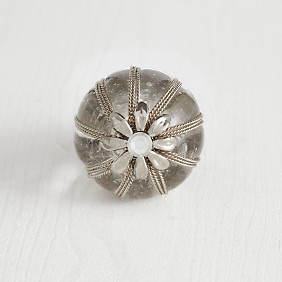 Bombay Duck Filigree Flower and Glass Cupboard Knob, Dia.35mm
