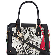 Buy Dune Dobby Side Zip Tote Bag, Black Lizard Online at johnlewis.com