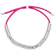 Buy Estella Bartlett Mini Anna Silver Plated Ring Suede Bracelet, Hot Pink Online at johnlewis.com