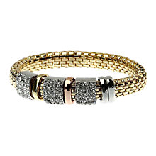 Buy Adele Marie Diamante Tri Colour Beads Oval Bracelet, Gold Online at johnlewis.com