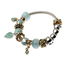 Buy Adele Marie Glass Bead Mesh Charm Bracelet, Turquoise Online at johnlewis.com